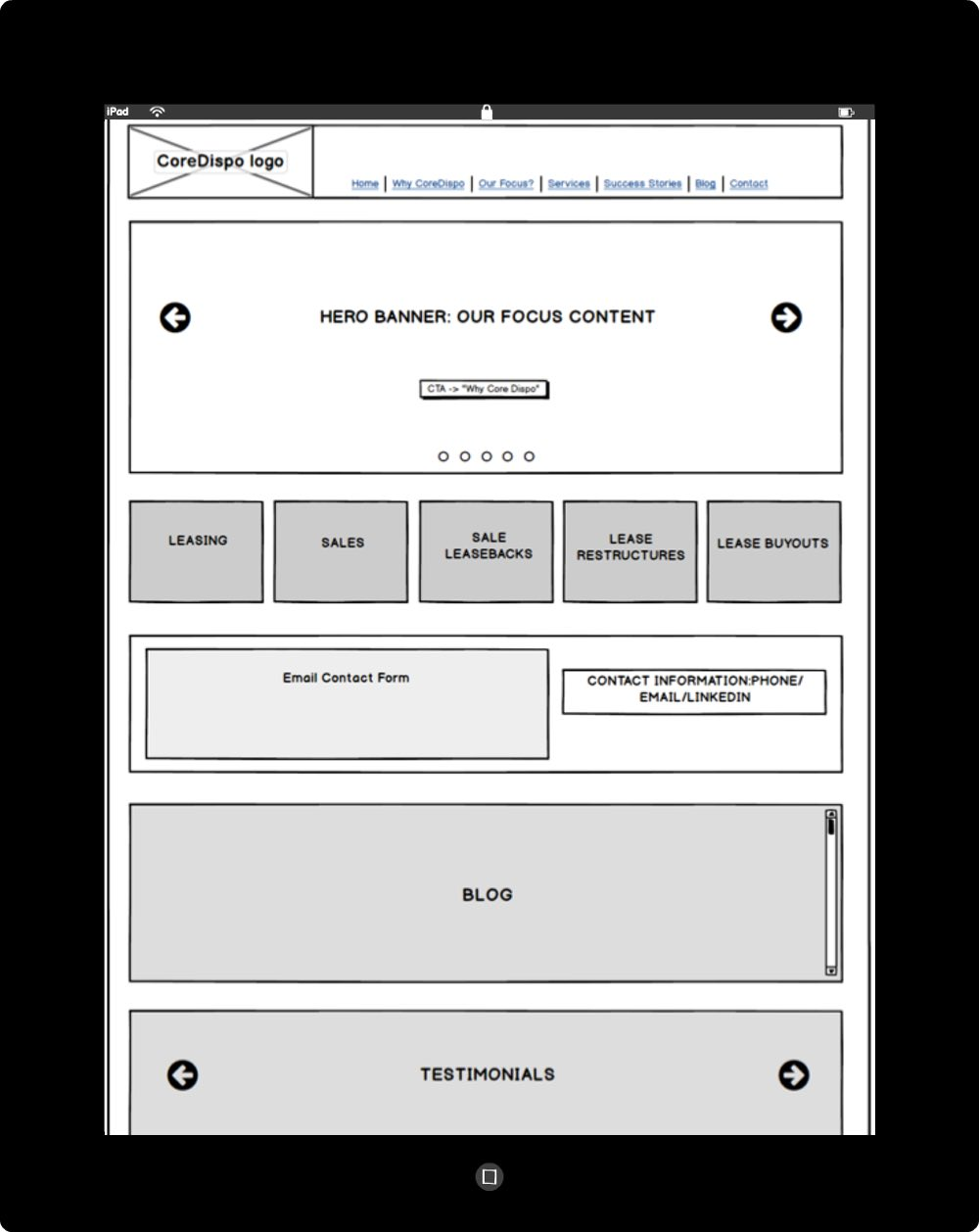 Chris Strange UX Designs - CoreDispo Wireframe - Home Page