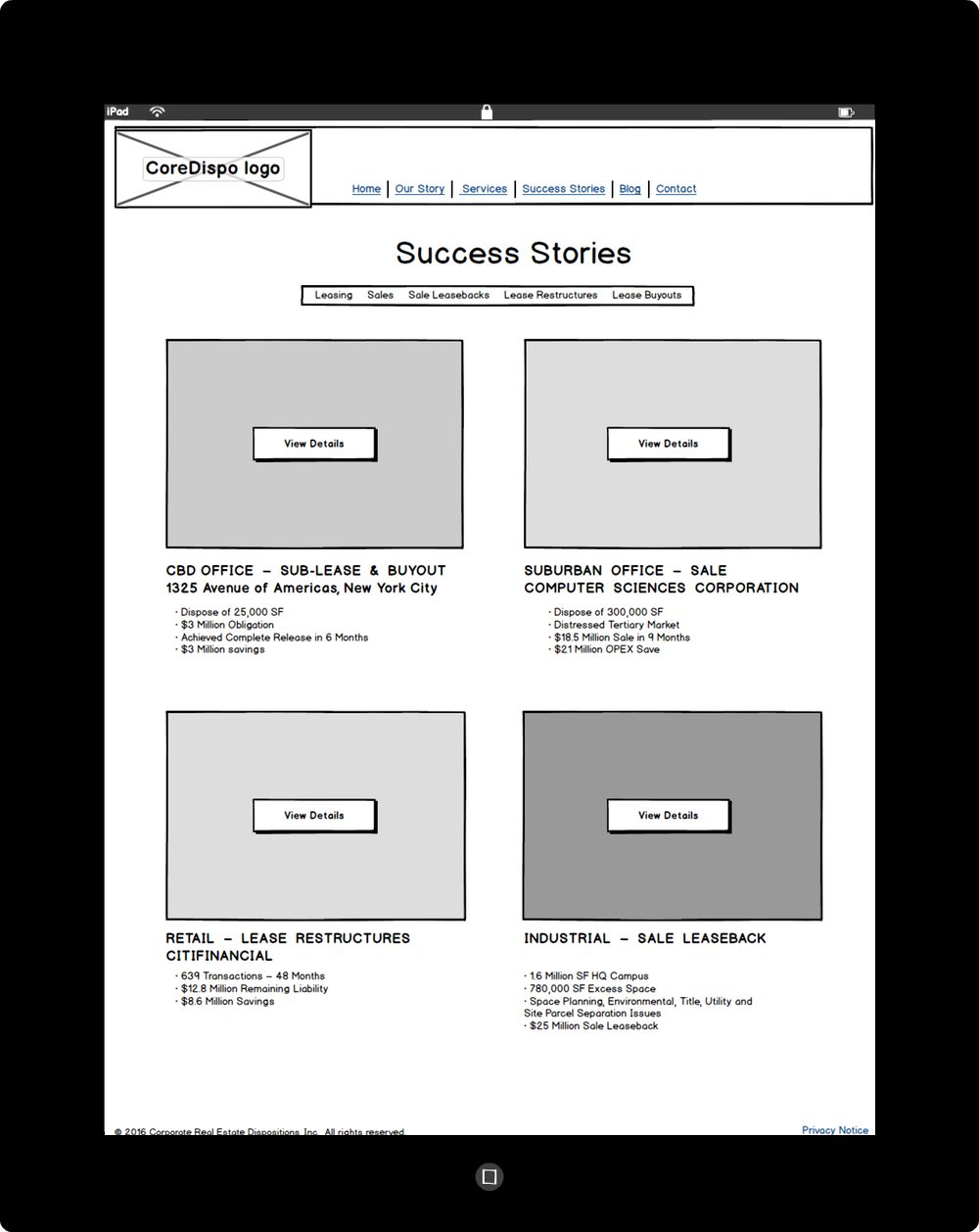 Chris Strange UX Designs - CoreDispo Wireframe Second-Level Page