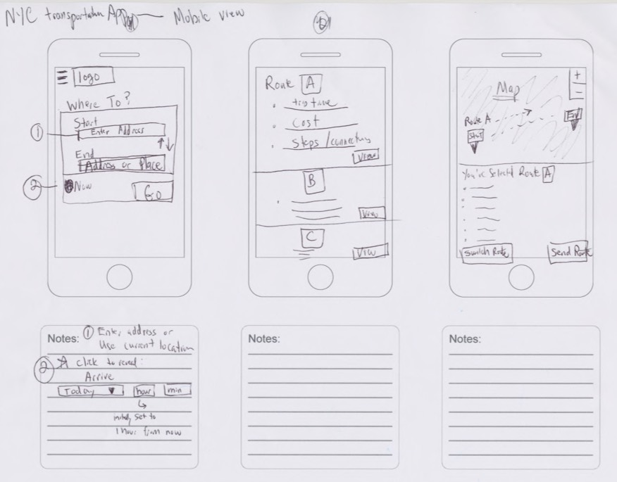 Chris Strange UX Designs - Sketches NYC Travel App