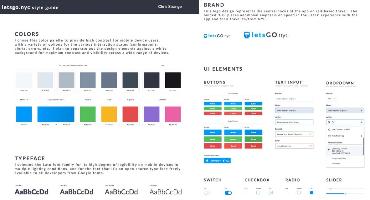 Chris Strange UX Designs - Style Guide NYC Travel App