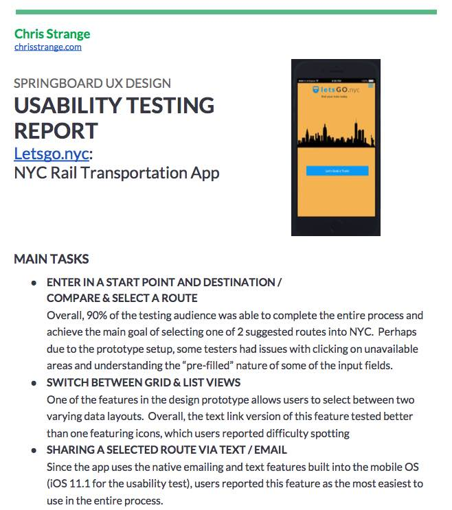 Chris Strange UX Designs - Usability Testing Report NYC Travel App