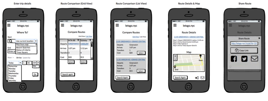 Chris Strange UX Designs - Wireframes NYC Travel App