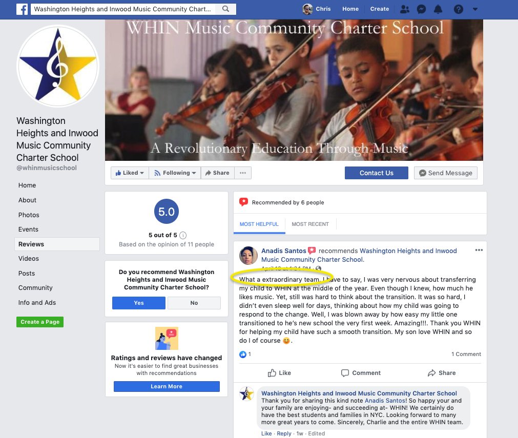 WHIN Music Community Charter School Facebook page reviews