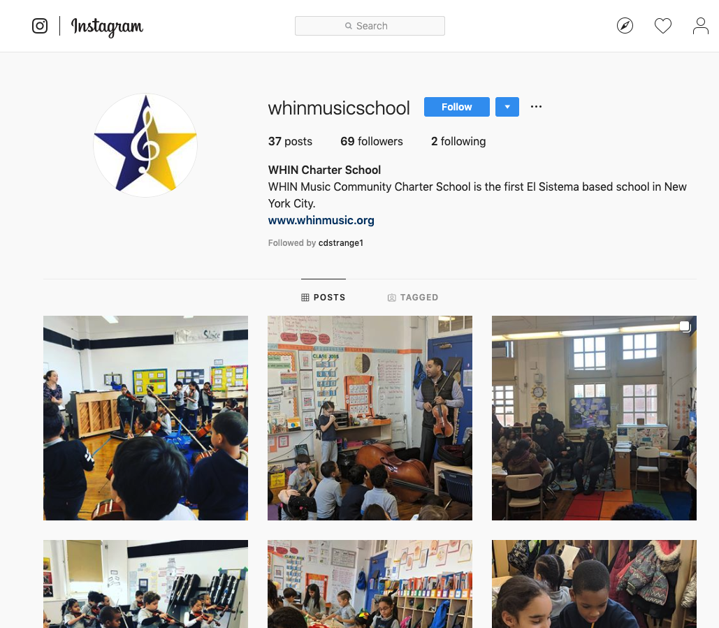 WHIN Music Community Charter School Instagram page Chris Strange